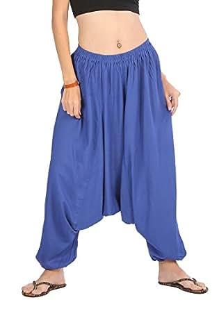 CandyHusky 100% Rayon Men Women Baggy Aladin Hippy Yoga Harem Pants (Free Size, Blue)