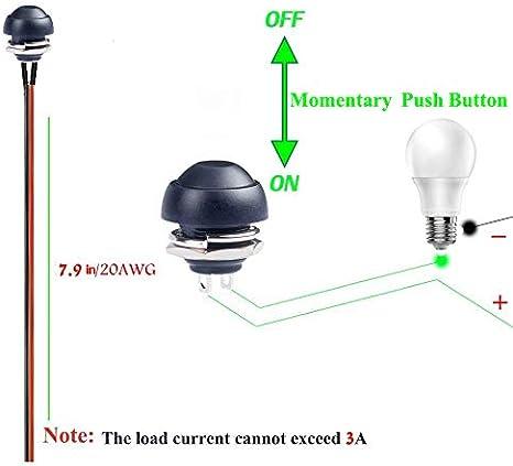 10 pezzi Green lampada da tavolo PC Interruttore Pulsante Momentaneo Donjon Interruttore a pressione istantaneo . con filo da 20 AWG impermeabile pulsante SPST ON//OFF per auto