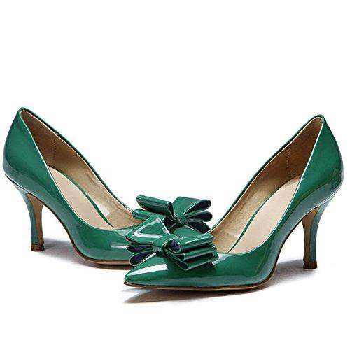 L Serata Pu Green Donna yc Festa A Nozze Di Autunno Tacco Tacchi Scarpe Da Estate Punta La Alto Per E Nera r1IUnWRqrw