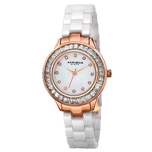 Akribos XXIV Women's Crystal Baguette Watch - 12 Genuine Crystal Hour Markers On Mother of Pearl Dial and Ceramic Bracelet - AK781