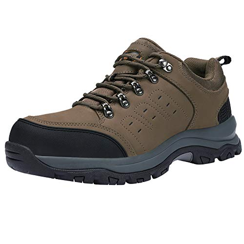 CAMEL CROWN Mens Hiking Shoes Low Cut Boots Leather Walking Shoes for Outdoor Trekking Training Casual Work Khaki/Black 10.5 M US