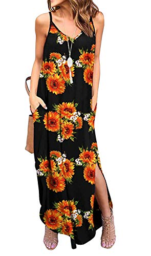 Kyerivs Women's Summer Dress Casual Loose Beach Cover Up Long Plain Print Cami Maxi Dresses with Pocket Sunflower L (14-16) ()