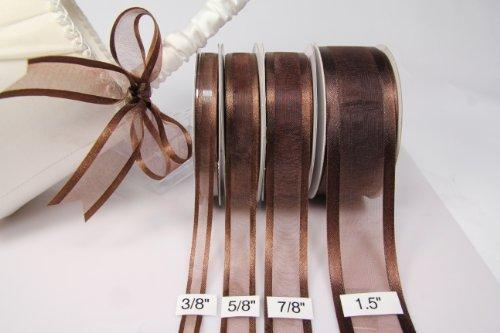 Chocolate Organza Ribbon With Satin Edge-25 Yards X 3/8 Inches