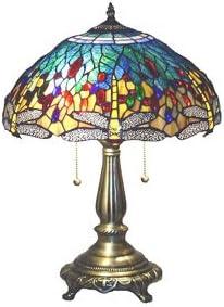 Serena D'Italia Elegant Tiffany Style Yellow Glass Dragonfly Table Lamp