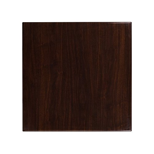 Flash Furniture 30'' Square High-Gloss Walnut Resin Table Top with 2'' Thick Drop-Lip -