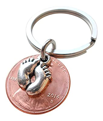 Baby Feet Charm Layered Over 2014 Penny Keychain; Mother's Keychain, Father's Keychain