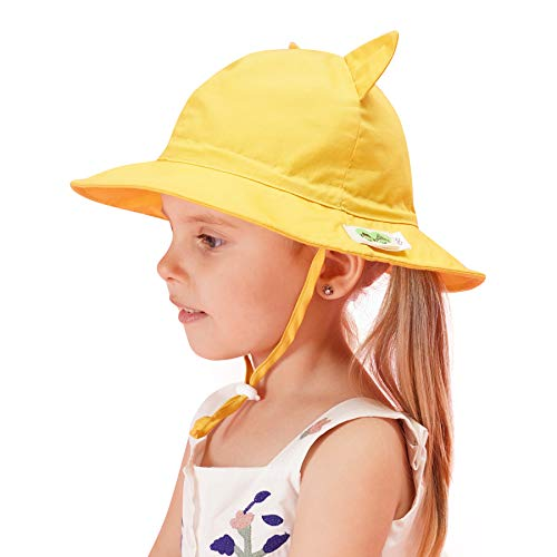 (Home Prefer Girls Brim Sun Protection Hat All Day UPF50+ Sun Hat for Kids School Hat Yellow #54)