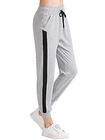 SweatyRocks Women's Casual Drawstring Jogger Pants Workout Sweatpants with Pockets Grey S