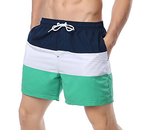 YKC Men's Quick Dry Swim Trunks Color Block Beach Shorts with Mesh Liner Green M
