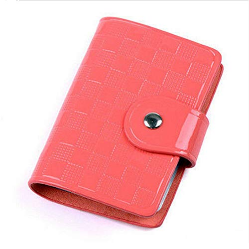 Woman Patent Leather ID Credit Card Case Holder Pocket Bags Wallet Organizor (Color - Watermelon red)
