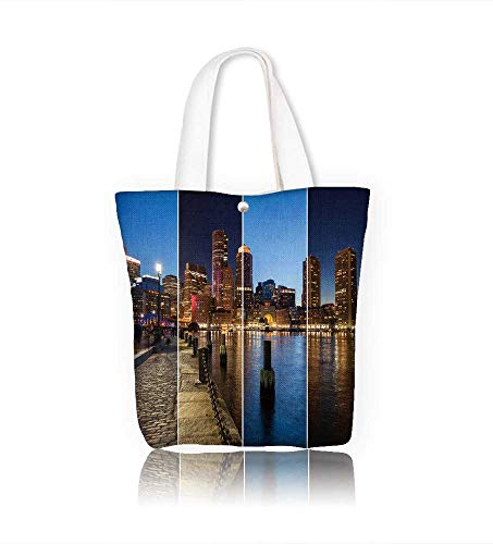 (Canvas Shoulder Hand Bag Boston skyline day to night montage Massachu ts USA United States of America women Large Work tote Bag Shoulder Travel Totes Beach W22xH15.7xD7 INCH)