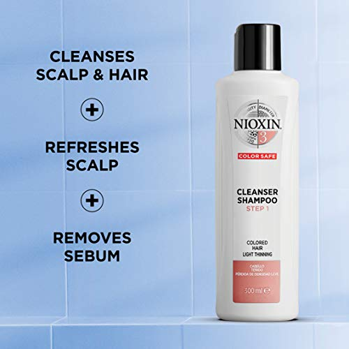 Nioxin System 3 Cleanser Shampoo for Color Treated Hair with Light Thinning, 33.8 oz