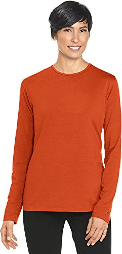 Orange Womens Cut T-shirt - Coolibar UPF 50+ Women's Long Sleeve T-Shirt - Sun Protective (3X- Tuscany Orange)