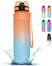 32oz Water Bottle with Straw - Motivational Water Jugs with Time Marker & Removable Strainer, Fast Flow BPA Free Water Bottle for Fitness, Gym, School and Office