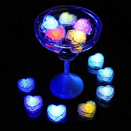 Mobestech 12 Stücke Leuchten Eiswürfel Liebe Herzform Eiswürfel Led Licht für Nachtclub Bar Pub Hochzeitsfeier Champagner Turm Dekoration Schnelles Blinken