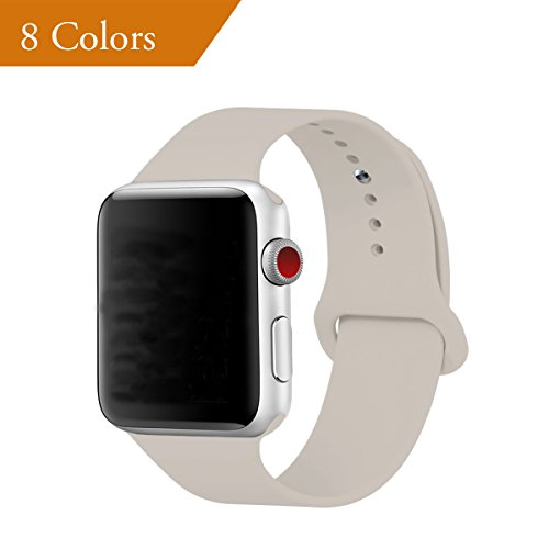 Sport Leather Band - YANCH for Apple Watch Band 42mm, Soft Silicone Sport Band Replacement Wrist Strap for iWatch Nike+,Sport,Edition,S/M,Stone