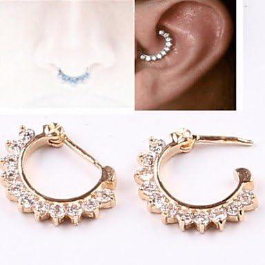 Dd Hot Sales Zircon Gold Open Hoop Nose Ring Septum Clicker Tragus