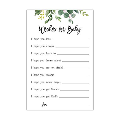 48 cnt Green Eucalyptus Leaves Baby Wish Cards