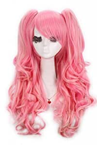 Lemail wig 65cm Long Anime Lolita Clip on Ponytail Wavy Cosplay Wig