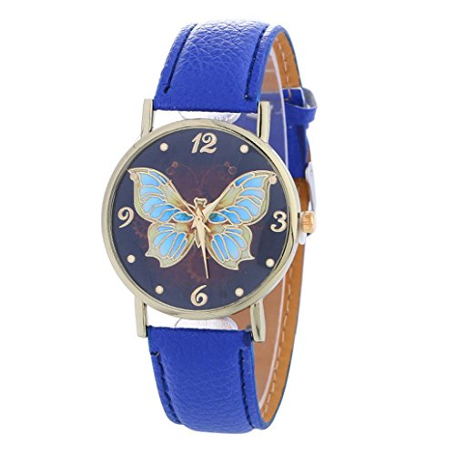 Price comparison product image AMA(TM) Women Fashion Butterfly Pattern Leather Quartz Wrist Watch Xmas Gifts (Blue)