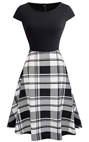 HOMEYEE Women's 1950s Vintage Elegant Cap Sleeve Swing Party Dress A009 (S, Black + Plaid)