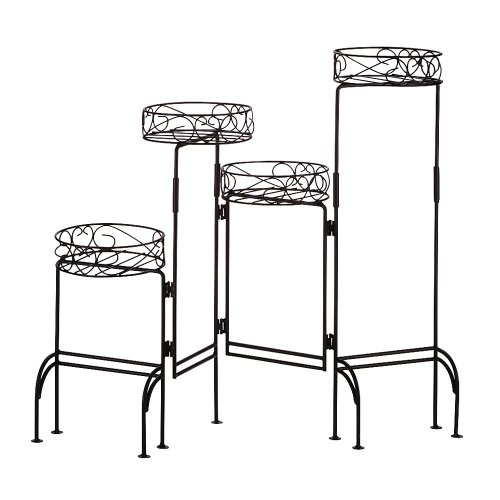 Gifts & Decor 4-Tier Metal Plant Stand Shelf Foldable Screen, Black ()