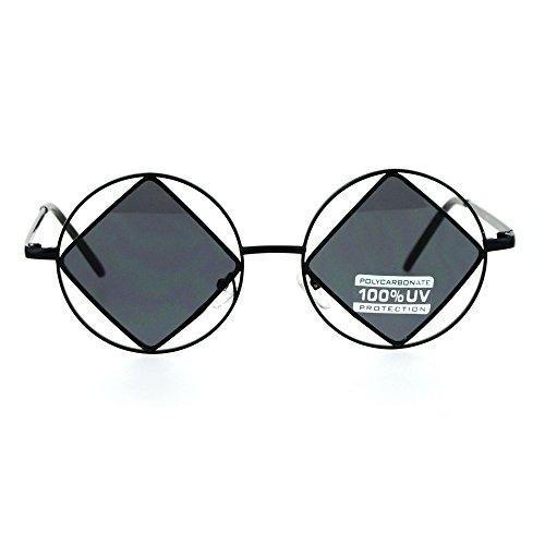 SA106 Womens Runway Double Rim Circle Round Hippie Pimp Sunglasses Diamond All - Circle Sunglasses Rim