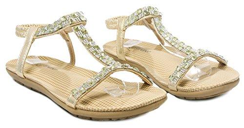 Calista55 T-strap Sparkle Crystal Rhinestone Acolchado Sandalias Slingback Oro