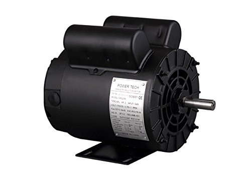 PowerTech CMO2256 2 hp SPL 5/8'' Air Compressor Electric Motor Shaft, Single Phase, 115/230V, 15/7.5 Amp, 56 Frame, 3450 RPM, ODP, Manual Overload Protector by Powertech