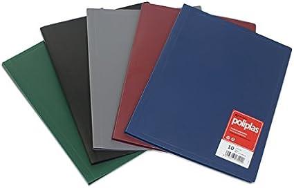 Grafoplás 1310010 Carpeta de 10 Fundas Soldadas.A4. Color Negro. Poliplás Opaca.: Amazon.es: Oficina y papelería