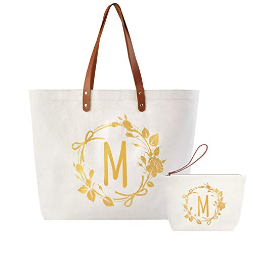 ElegantPark M Initial Monogram Personalized Party Gift Shoulder Tote and Travel Makeup Cosmetic Bag Zipper Canvas 2 Pcs -