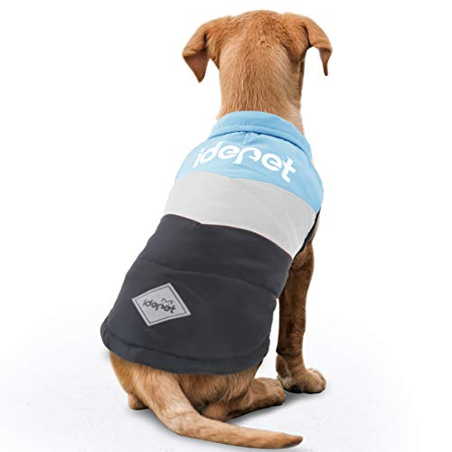 Idepet Dog Pet Winter Coat Warm Clothes Apparel Doggy Puppy Color Patchwork Padded Cold Weather Vest Jacket