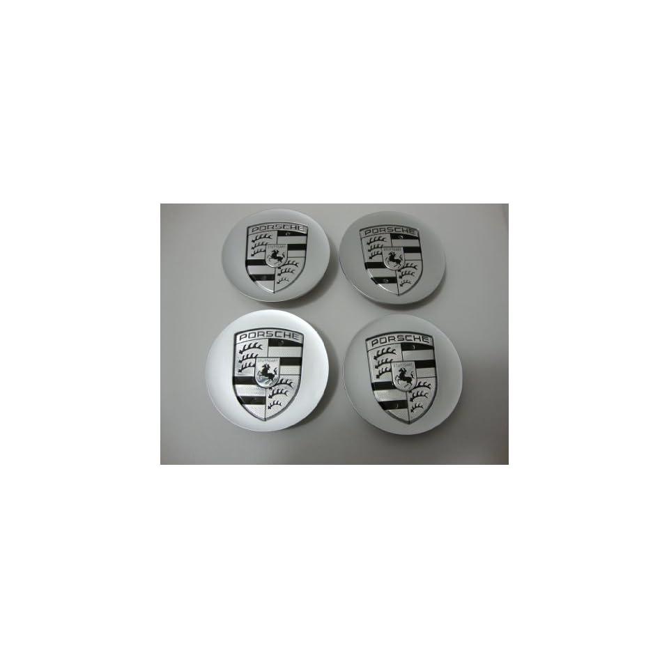 4pcs Set Porsche Silver with Silver Wheel Center Caps 997 993 911 968 Cayenne Boxter Carrera