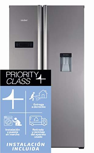 Sauber – Frigorífico Americano DISPENSADOR – SA177ID Tecnología NOFROST – Eficiencia energética: A++ – Acero inoxidable