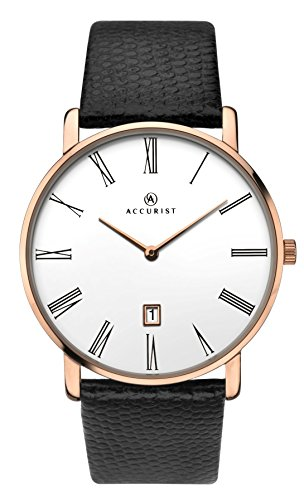 Accurist Mens Analogue Quartz Watch With White Dial And Rose Gold Plated Case 7183
