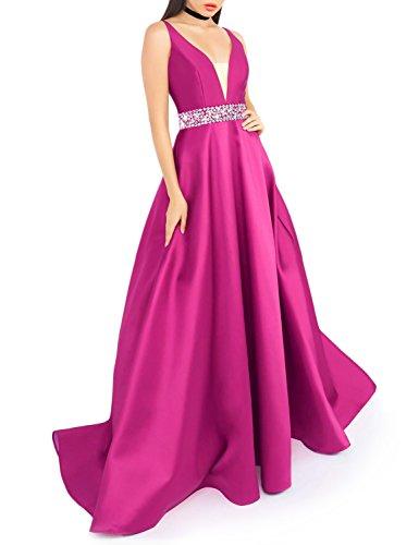 YSMei Women's Stain Light Long Dress Deep V-Neck Sleeveless Empire Dress Sequins Sash US2 Fuchsia ()