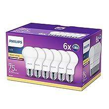 Philips Lighting - Bombilla LED esférica E27, 11 W, equivalente a 75 W, blanco cálido, 1055 lúmenes, no regulable, Paquete de 6
