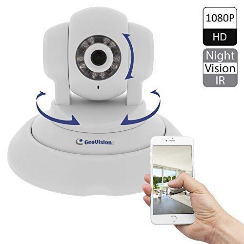 Geovision GV-PT220D 2M 1080P WDR, IR, Pan Tilt IP Cam, FREE 32 Ch NVR Software, POE and SD Card Slot (White)