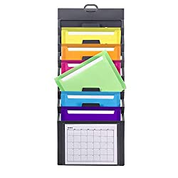 Reduce desk and office clutter by utilizing often overlooked wall space. Ideal for both office and home organization. Six cascading colored file pockets are removable to make document access easy. Each pocket holds 50 sheets. Features a convenient ha...