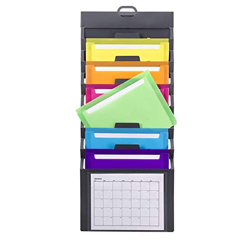 Smead Cascading Wall Organizer, 6 Pockets, Letter Size, Gray/Bright Pockets (92060) 6 Pocket Poly Organizer