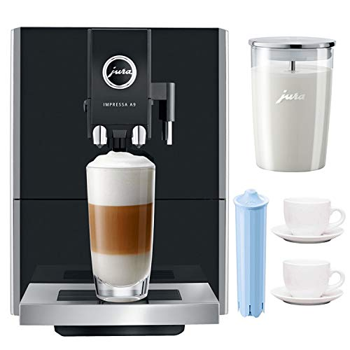 Jura Impressa A9 P.E.P One-Touch Automatic Espresso Machine Includes Glass Milk Container, Espresso Cup and Saucer and Filter Cartridge (Renewed)