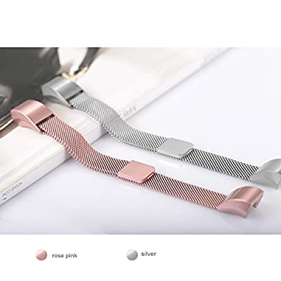 """For Fitbit Alta HR and Alta Bands, bayite Replacement Milanese Loop Stainless Steel Metal Bands Pack of 2 Small 5.5""""-6.7"""" Silver and Rose Pink"""
