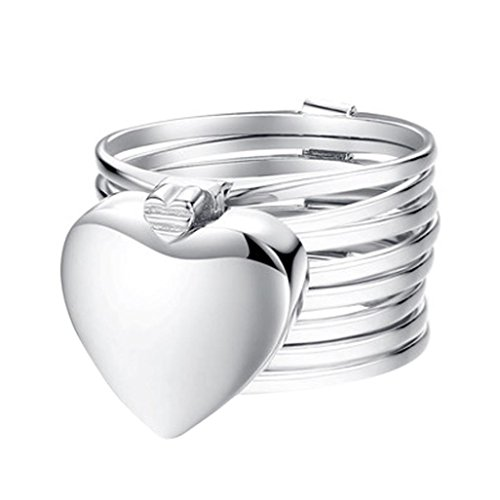 Womens Girls Love Heart Stackable Retractable Ring Cuekondy Magical Change To Bracelet Engagement Wedding Anniversary Party Charm Jewelry (Silver, 8) ()
