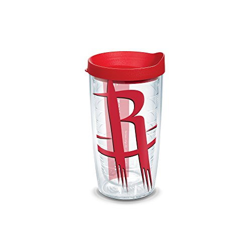 Tervis 1126900 NBA Houston Rockets Colossal Tumbler with Wrap and Red Lid 16oz, Clear by Tervis