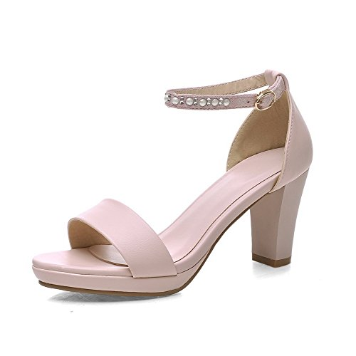 VogueZone009 Womens Soft Material Buckle Open Toe Low-Heels Solid Wedges-Sandals