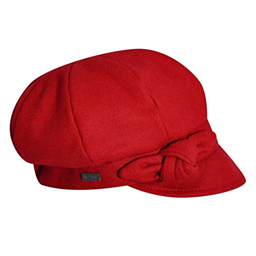 Betmar Women's Adele Plaid Cap with Bow, Scarlet, One Size