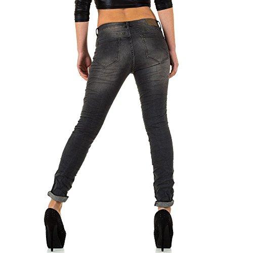 Bestickte Low Skinny Jeans Für Damen , Grau In Gr. 36 bei Ital-Design