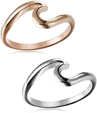 JOERICA 2PCS Stainless Steel Womens Rings for Girls Wave Rings,Size 4-10