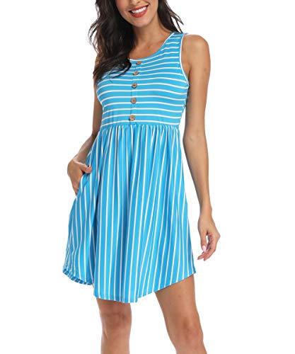 INWECH Women's Summer Sleeveless Striped Empire Waist Loose Midi Casual Dress with Pockets (Acid Blue, Large)