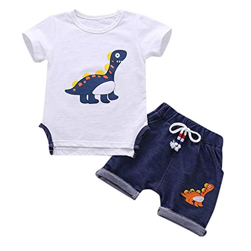 NUWFOR Baby Boys Kids Short Sleeve Dinosaur Cartoon Tracksuit Sport Suits Short Clothes Sets T-Shirt Shorts(White,18-24 Months)